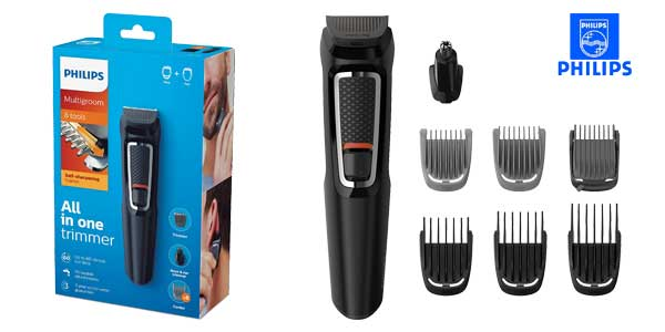 Recortador Philips MG3730/15 con 8 accesorios de precisión para barba, nariz y orejas chollo en Amazon