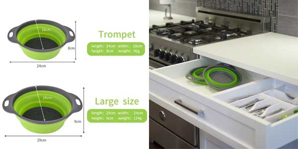 Set 2 coladores Enko plegables de silicona sin BPA en varios colores baratos en Amazon