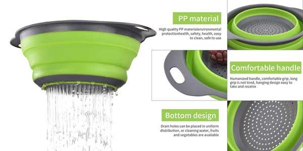 Set 2 coladores Enko plegables de silicona sin BPA en varios colores chollazo en Amazon