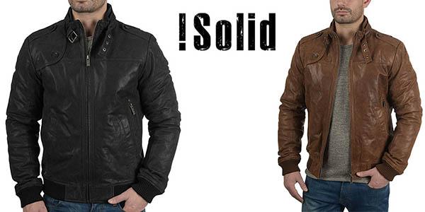 Solid fash chaqueta de cuero para hombre