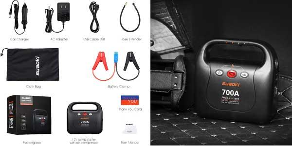 Arrancador de coche Suaoki 700A Jump Starter compresor de aire de 150 PSI barato en Amazon