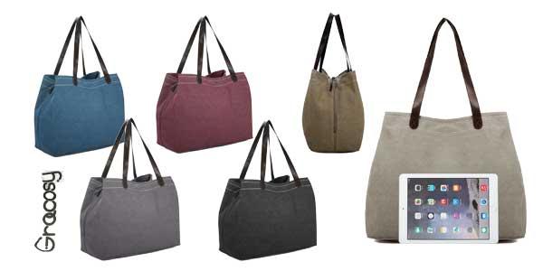 Bolsos Tote en tejido de algodón con 3 compartimentos disponibles en 7 colores baratos en Amazon Moda