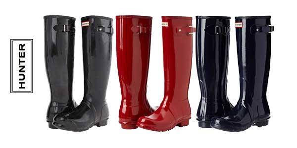 Botas de agua Hunters Original Tall Gloss WFT1000 para mujer baratas en Amazon Moda