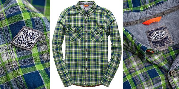 Camisa Superdry Grindlesawn de cuadros verdes para hombre rebajada
