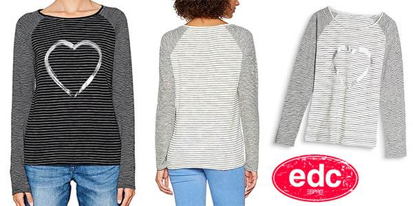 camiseta EDC by Esprit para mujer manga larga chollo