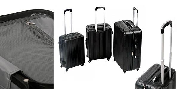 conjunto 3 maletas con ruedas compartimentos medidas cabina permitidas aerolíneas low cost
