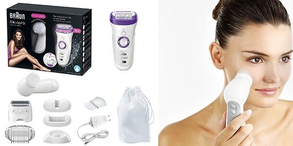 depiladora Braun Silk-épil 9-9-579 con cepillo facial bolsa y cabezales chollo