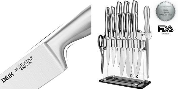 Chollo flash pack cuchillos de cocina deik de acero for Menaje cocina barato