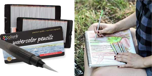 Lápices para Acuarela Coloré – 72 Lápices de Colores Solubles en Agua para Estudiantes de Arte y Profesionales chollo en Amazon
