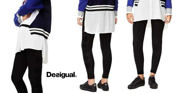 Leggings Desigual Marioti en color negro baratos en Amazon Moda