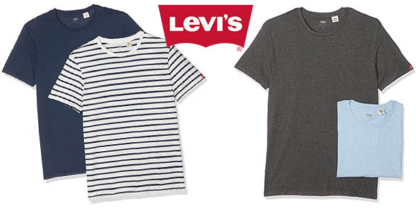 c8f1d610a2db6 Chollazo Pack x2 camisetas básicas Levi s Slim Crew Tee para hombre ...