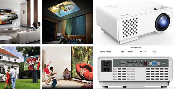 Mini proyector DBpower RD-810 de 1200 lumens LCD multimedia barato