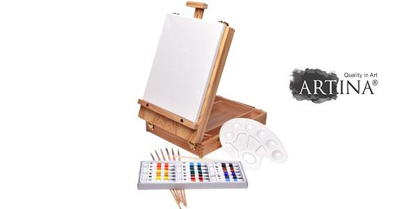 Artina Florenz set de pintura de 28 piezas caballete maletín de mesa para profis y aficionados barato en Amazon España