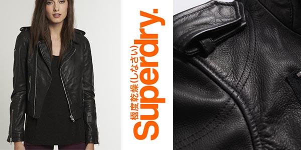 Superdry Premium Biker cazadora de cuero para mujer barata