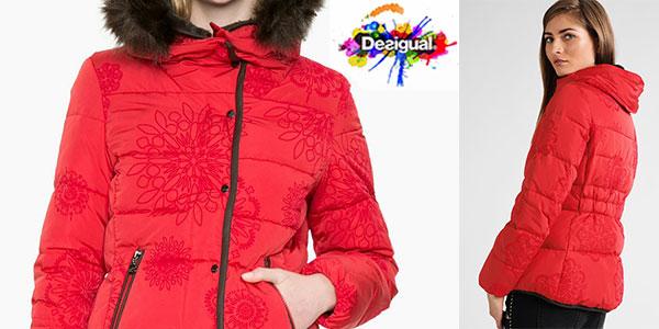 Abrigo Desigual Cecilia rojo con capucha para mujer rebajado