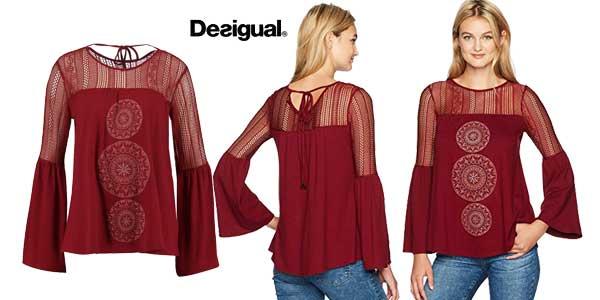 Blusa Desigual Neusifu en color negro para mujer chollazo en Amazon Moda