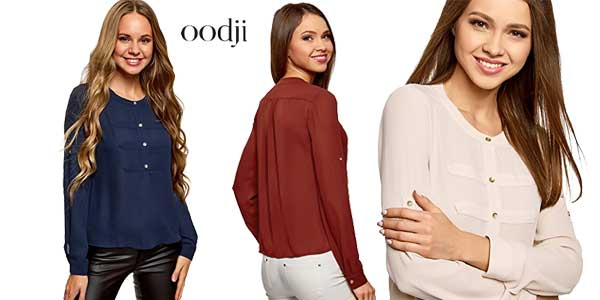 Blusas de gasa estilo militar de Oodji Ultra en varios colores baratas en Amazon Moda