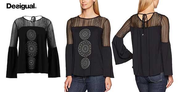 Blusa Desigual Neusifu en color negro para mujer barata en Amazon Moda
