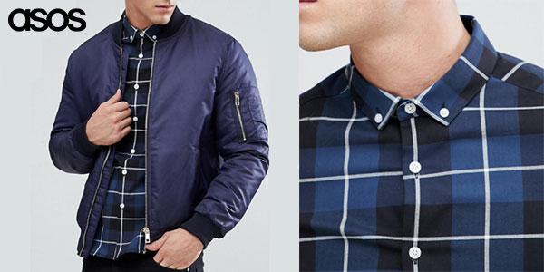 Camisa slim de cuadros azules para hombre en oferta
