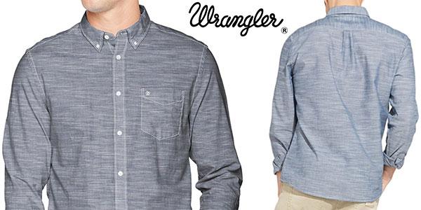 Camisa Wrangler de manga larga de color azul Navy 35 para hombre barata