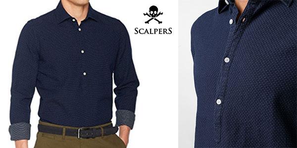 Camisa polera Scalpers azul para hombre barata