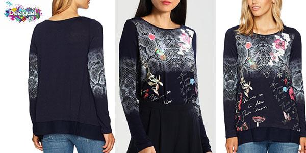 Camiseta Desigual Me de manga larga estampada de color azul para mujer barata