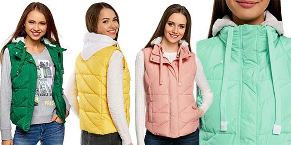 Chalecos acolchados con capucha en varios colores para mujer en oferta