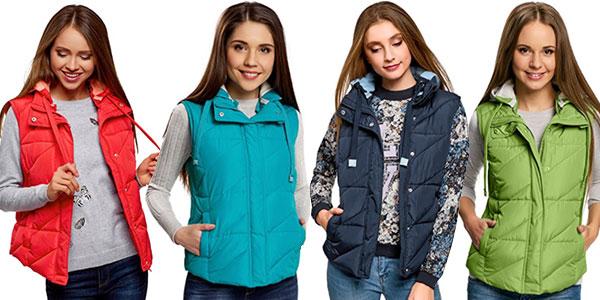 Chalecos acolchados Oodji con capucha en varios colores para mujer