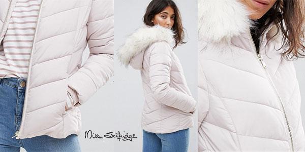 Chaqueta acolchada Miss Selfridge de color blanco con capucha para mujer en oferta