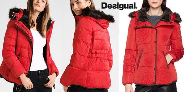 Chaqueta acolchada Desigual Cecilia de color rojo con capucha para mujer barata