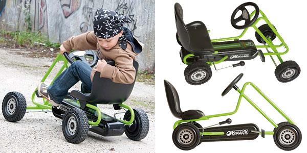 Coche de pedales Hauck T90105 Lightening Go-Kart de color verde y negro para niños