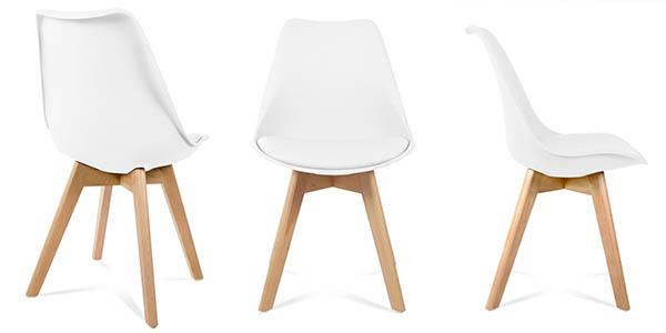 conjunto sillas comedor en madera polipropileno imitación Tulip precio brutal