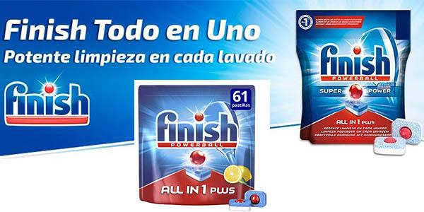 detergente lavavajillas Finish All in 1 61 pastillas limón chollo