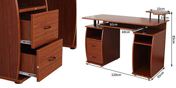 escritorio trabajo paneles madera MDF compartimentos y cajones
