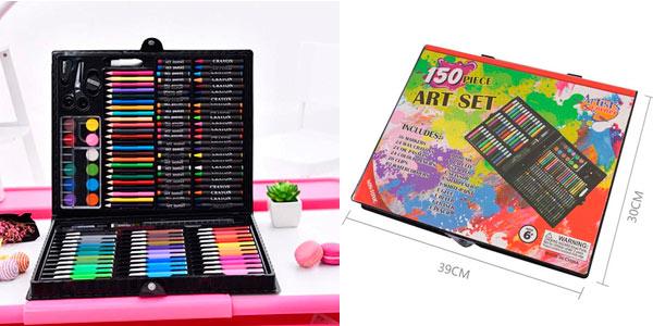 EStuche artístico con lápices, ceras, acuarelas y accesorios barato en Amazon