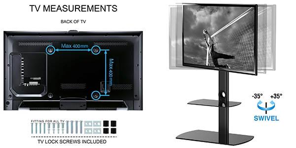 Fitueyes soporte televisor acero vidrio templado orientable fácil instalación