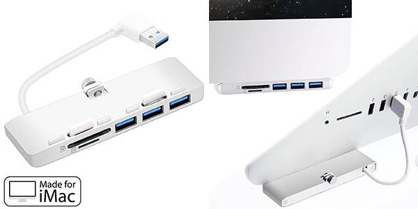 Hub Cateck de 3 puertos USB 3.0 ultrafino de aluminio con lector SD para iMac