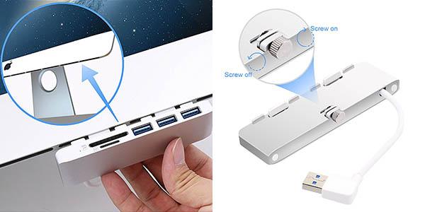 Hub Cateck de 3 puertos USB 3.0 y lector tarjetas barato