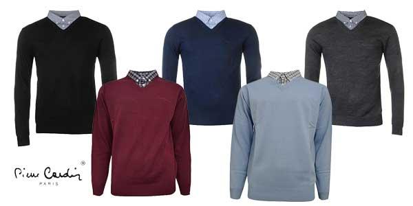 Jersey de punto Pierre Cardin con cuello de camisa barato en Amazon Moda