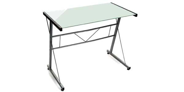Mesa para ordenador Versa en cristal templado y hierro barata en Amazon