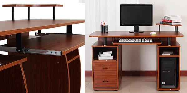 mesa nogal con cajón para teclado ordenador impresora relación calidad-precio genial