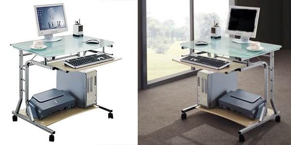 Mesa de ordenador sixbros en metal vidrio y arce por s lo 81 90 con env o gratis buen simas - Mesa ordenador oferta ...