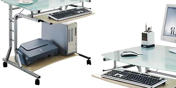 mesa Sixbros Ct-3791A/41 metal vidrio ordenador teclado chollo