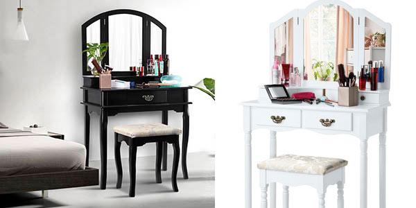 Mesa tocador con espejo plegable Langria con taburete a buen precio