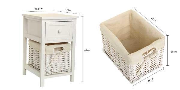 Juego de 2 mesitas de noche con cajón y cesta extraíble chollazo en eBay España