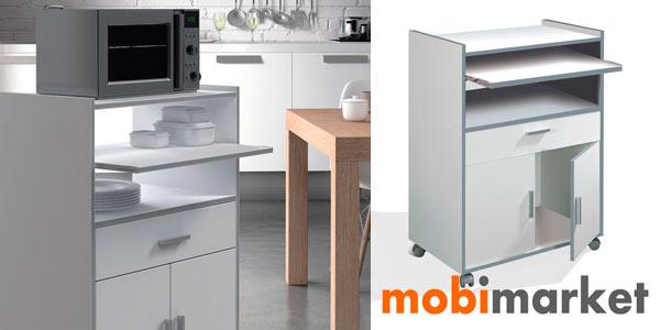 Chollo mueble auxiliar con ruedas en color blanco ideal for Transporte de muebles barato