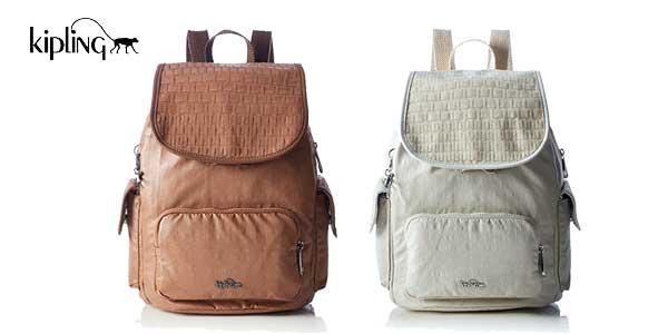 Bolso mochila Kipling City Pack S Woven para mujer en dos colores barata en Amazon Moda