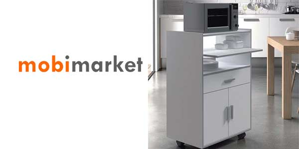 Chollo mueble auxiliar con ruedas en color blanco ideal for Mueble auxiliar cocina con ruedas