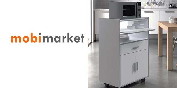 Chollo mueble auxiliar con ruedas en color blanco ideal for Mueble auxiliar microondas