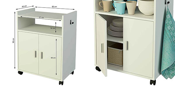 mueble auxiliar ruedas puertas almacenaje cocina relación calidad-precio brutal